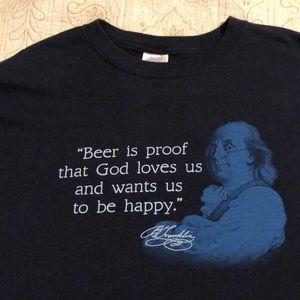 Benjamin Franklin beer tee shirt